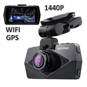 VETOMILE V2 2K Dash Cam Full HD 1440P Caméra Embarquée Voiture Appareil Photo Intégré 2,7″LCD, Vidéo DVR avec 170℃ Grand Angle, Enregistrement en Boucle/d'Urgence, WiFi,GPS