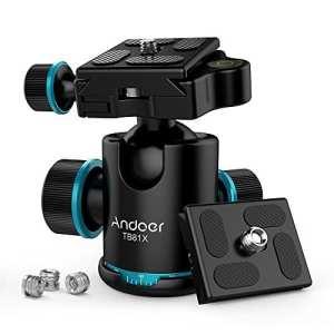 Andoer Camera Rotule de Trépied Tête 360° Tête Fluide Max Charge à 8kg Panoramique Vidéo et Caméscopes avec Dégagement Rapide Plaque 1/4 Pouce vis pour Canon Nikon Sony Téléobjectif (Noir) (2)