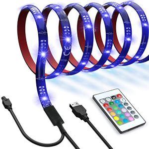 Ruban LED Etanche Strip Lights – Kit de Ruban bandes de rétroéclairage TV LED, 16 couleurs, 4x 0.5m USB TV LED Lights avec télécommande pour TV 40-60 pouces, moniteur PC, Home Cinéma