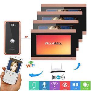 HONGSHENG sans Fil WiFi Smart Sonnette, 7-inch interphone vidéo système de Sonnette, 1 caméras, 4 moniteurs, Support pour Remote APP