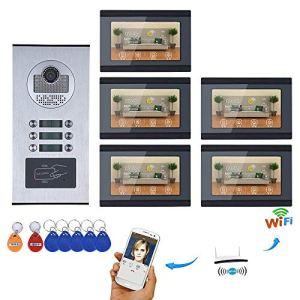 HONGSHENG sans Fil WiFi Smart Sonnette, 7-inch interphone vidéo système de Sonnette, Support pour l'application à Distance, 5 Moniteur, 1 Appareil Photo, télécommande, 6-Key, Mot de Passe, Bouton
