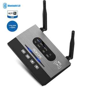 Hosome Émetteur Récepteur Bluetooth 5.0, 3 en 1 263pieds Adaptateurs Audio 3,5 mm sans Fil Longue Portée Deet Câble Optique RAC (Faible Latence Aptx HD) pour Téléviseur, Sonorisation Domestique