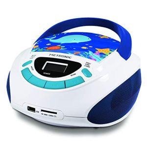 Metronic 477170 Radio Lecteur CD Enfant Océan avec Port USB – Bleu et Blanc