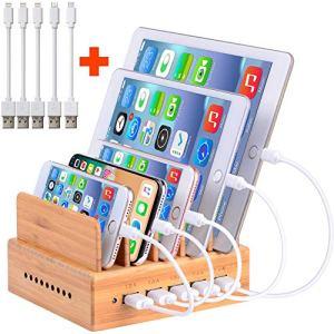 OTHOKING Station de Charge, Bambou Chargeur Multiple Organisateur des Câbles pour Smartphones Tablettes 5 Ports USB Multi Charges