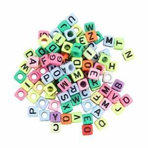 1Bag / 100Pcs 6mm Alphabet Lettre Charms pour Perles pour Loom Bandes Bracelet Multicolore Pas De Colle Pas De Désordre Bon comme Cadeau Multi-Couleur