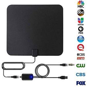 Antenne TV Intérieur,110 Mile HDTV Antenne avec Signal Amplificateur Booster,1080P Full HD,pour TFI, ABC, BBC, CBS, NBC, PBS, Fox, Euronews, FTV, France 1 2 3 5, Canal Plus et FM/Dab Radio