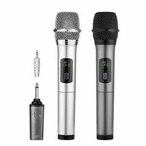 Micro sans fil Karaoké 2 Microphone UHF 10 Canaux avec 1 Récepteur bluetooth (batterie au lithium intégrée)+2 Connecteur de 6.35 et 3.55 Micro HF à Main Dynamiques Portables pour Haut-parleurs Fête