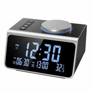 Oria Radio Réveil Numérique, Radio Réveil FM avec Double Alarme, 2 Ports de Chargement USB, 5 Niveaux de Luminosité, Minuterie et Fonction de Répétition de la Veille, Convient à la Maison, au Bureau
