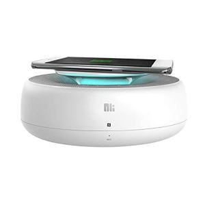 QKa Haut-Parleur Bluetooth avec Chargeur sans Fil 10W, Haut-parleurs stéréo 2 en 1 pour la Maison, Haut-Parleur intégré à Double Pilote, Microphone Mains Libres, Charge USB