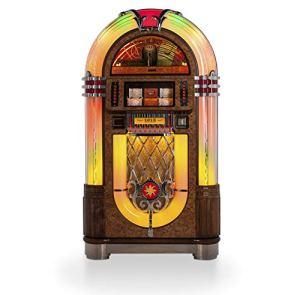 RENE PIERRE – Juke Box MODELE Chapelle – Jukebox Mythique revisité – Fabrication de Haute qualité – 85x70x155 – Marron
