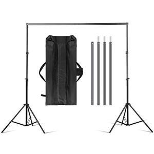 amzdeal Support de Fond 3m * 2m Réglable Ajustable pour Studio Photo, Hauteur 70-200cm, Largeur 75-300cm, Support en Aluminium Solide Durable pour Prendre Photo Portrait Vidéo, Sac de Transport Inclus