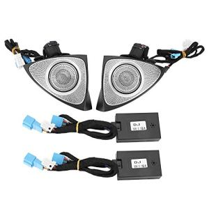 Gorgeri Haut-parleur audio pour voiture , Haut-parleur rotatif 3D audio pour véhicule avec ajustement de lampe d'ambiance(12 couleurs)