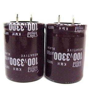 MachinYesell 2Pcs Condensateurs électrolytiques 100V 3300uF Volume 30×40 mm 3300uF 100V Marron