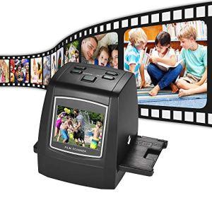 QWERTOUY Scanner de Film Haute résolution 14MP / 22MP TFT LCD 2,4 Pouces Convertissez des négatifs 35 mm / 135 mm en Diapositives monochromes en Images numériques