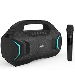 QWERTU Le Microphone sans Fil Bluetooth M100 4.2 du Haut-Parleur associe automatiquement Une Pile AA, Convenant à l'entrée AUX, à la Carte TF et au Disque U