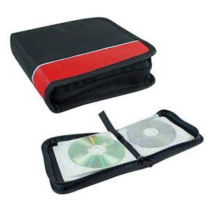 Sac de rangement pour CD avec fermeture éclair, poignée design, tissu Oxford, résistant aux chocs, pour CD et DVD de voiture, noir