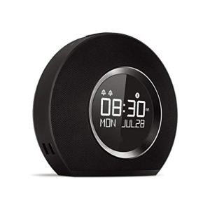 ZJHNZS Haut-Parleur Bluetooth Radio-réveil sans Fil avec Haut-Parleur Bluetooth et Chargeur USB à LED Lumière ambiante Incroyable Son stéréo Son Ecran LCD, Noir