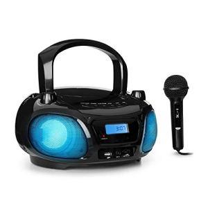 AUNA Roadie Sing – Radio CD, Chaîne Stéréo, Boombox, Lecteur CD, Port USB, MP3, Radio FM, Bluetooth 3.0, Eclairage LED, Fonctionnement sur Piles ou Secteur, Fonction Sing-A-Long, Noir