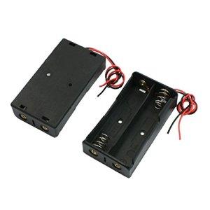 SODIAL(R) 2pcs Noir 2 x 18650 3,7V boite de batterie avec fil