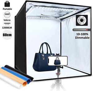 60cm Photo Studio Luminosité Réglable – amzdeal Boîte de Lumière Portable Pliable, 60W 12000LM 120 LEDs Fixation Velcros, 3 Fenêtres de Shooting, 4 Fonds (Bleu, Blanc, Noir, Orange)