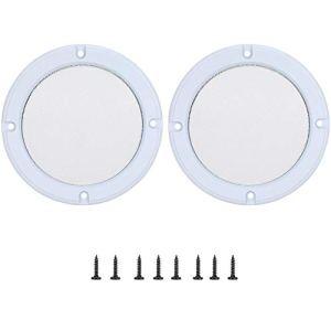 Alinory 2 pcs 4 Pouces Audio Haut-Parleur Couverture Cercle Décoratif Cercle De Protection en Métal De Protection Couverture Grille Haut-Parleur(Blanc + Blanc)