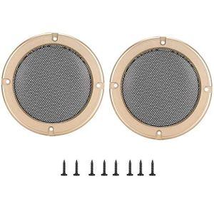 Alinory 2 pcs 4 Pouces Audio Haut-Parleur Couverture Cercle Décoratif Cercle De Protection en Métal De Protection Couverture Grille Haut-Parleur(Or + Noir)