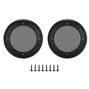 Alinory Speaker Grills 2PCS 4inch en Métal Audio Haut-Parleur Couvre De Protection Décoratif Cercle Maille Couverture(Noir + Noir)