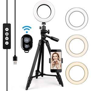 Amzdeal Ring Light 6 » -Anneau lumineux LED 3 couleurs 10% -100% Luminosité réglable Rotation 360 °avec télécommande et support mobile pour le maquillage / appel vidéo / selfie / streaming en direct
