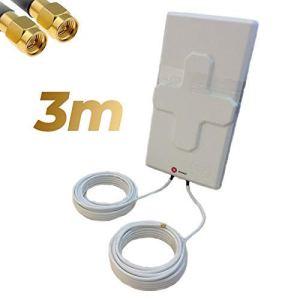 Antenne 4G Wonect 50 dBi Blanc Extérieur 5,10 ou 15 mètres Câble Connecteur SMA Mâle Intégré Blanche 3m