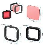 Asiv 4 Pcs Filtres de Plongée pour GoPro Hero 3+ 4 Logement Standard, Accessoires pour Correction de Couleur (Rouge + Jaune + Gris + Violet Filtre)