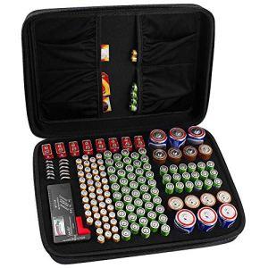 Boîte de Rangement de Batterie, Organisateur de Stockage de Batterie – Peut contenir 142 Piles AA AAA C D 9V – Compatible avec Le testeur de Piles BT-168D