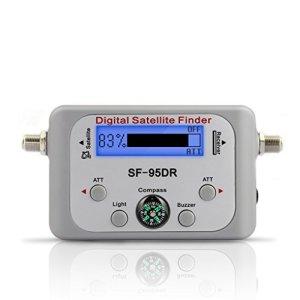 Bomcomi Récepteur TV décodeur numérique Satellite Finder Signal Meter pour Directv Dish Network FTA Signal pointeur SF-95DR