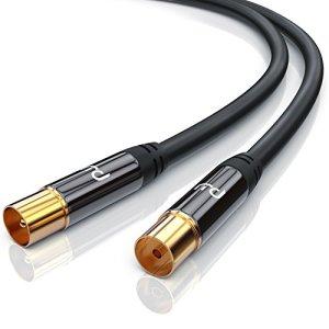 CSL-Computer 1,0m câble d'antenne TV Facteur de Blindage 135 DB Résistance 75 Ohm – Câble coaxial Koax HDTV Full HD – Prise Koax sur câble Koax Prise IEC sur fiche IEC
