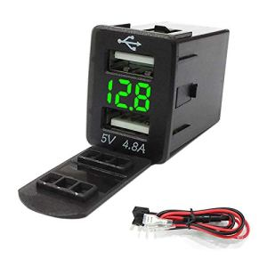 CUHAWUDBA Qc3.0 12-24 V LED Dual Port Interface USB Chargeur Socket Adaptateur Secteur pour Corolla Vert