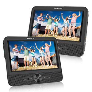 FANGOR Double Ecran 7.5» Lecteur DVD Portable Voiture 1024 * 600 avec de Puissants Haut-parleurs stéréo, Prise en Charge USB/SD/AV in/AV Out(1 Lecteur DVD et 1 Moniteur)