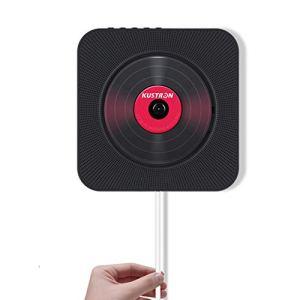 FAY Lecteur de CD Portable, baladeur Bluetooth CD à Fixation Murale, Haut-Parleur HiFi avec télécommande, Lecteur de clé USB (entrée/Sortie AUX), pour éducation/Apprentissage prénatal,Black