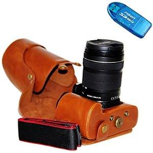 First2savvv XJPT-70D-09 brun PU cuir étui housse appareil photo numérique pour Canon EOS 70D 60D avec Lens 18-135mm/18-200mm/15-85mm/17-85mm + lecteur de carte