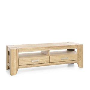 FirstLoft 116-0200 Meuble TV 2 tiroirs en chêne Massif huilé 140 x 45 x 45 cm