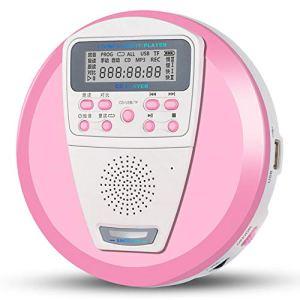 GDS CD Portable, baladeur Répéteur, Président TF Carte U Disque Lecteur Tilt Machine Salut-FI Haut-parleurs USB MP3,Rose