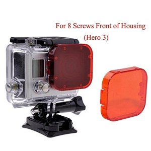 Homree Filtre rouge pour GoPro Hero 5, filtre étanche à clipser sur l'objectif pour la photographie sous-marine, for Hero 3/SJ4000