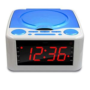 Horloge Lecteur CD Lecteur CD, Haut-parleurs stéréo Réveil USB prénatale éducation de la Petite éducation/WMA Radio FM Entrée auxiliaire Sortie Casque MP3,Bleu