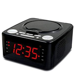 Horloge Lecteur CD Lecteur CD, Haut-parleurs stéréo Réveil USB prénatale éducation de la Petite éducation/WMA Radio FM Entrée auxiliaire Sortie Casque MP3,Noir