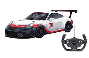 Jamara- 405153-Porsche 911 GT3 Cup 1:14 Voiture RC, sous Licence Officielle, Environ 1 Heure de Conduite, 9 Km/h, intérieur détaillé, Finition de Haute qualité, éclairage LED, 405153, Blanc