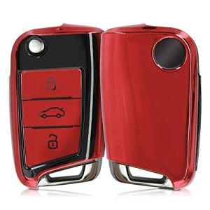 kwmobile Accessoire Clef de Voiture pour VW Golf 7 MK7 – Coque en Silicone pour Clef de Voiture VW Golf 7 MK7 3-Bouton – Housse de Protection Rouge Haute Brillance-Noir Haute Brillance