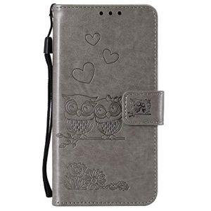 Lomogo Coque Xiaomi Redmi Note 8T Portefeuille, Housse en Cuir avec Porte Carte Fermeture par Rabat Aimanté Antichoc Étui Case pour Xiaomi Redmi Note8T – LOHHA101091 Gris