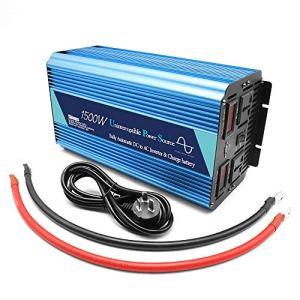 MTSBW 1500W onduleur 2 AC Prise DC 12V / 24V convertisseur de Puissance de Voiture 220 V AC Simple Adaptateur Chargeur de Voiture Port USB pour Le Camping motorisé pour l'extérieur,12v