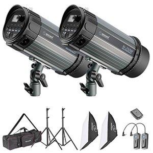 Neewer Kit Flash Studio 500W – Lampe Studio Strobe et Softbox:(2)250W Spot Projecteur,(2)Support,(2)Softbox,(1)RT-16 Déclencheur,(1)Sac, Eclairage pour Photo Studio Portrait Produit Vidéo
