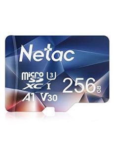 Netac Carte mémoire microSDXC, 256G Haute Vitesse UHS-I Carte Micro SD jusqu'à 100MB/S, A1, U3, C10, V30, 4K, 667X Carte TF pour Drone/Dash Cam/Camera/Phone/Nintendo-Switch/PC/Tablette