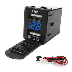 Nrpfell Qc3.0 12-24 V LED Dual Port Interface USB Chargeur Socket Adaptateur Secteur pour Corolla Bleu