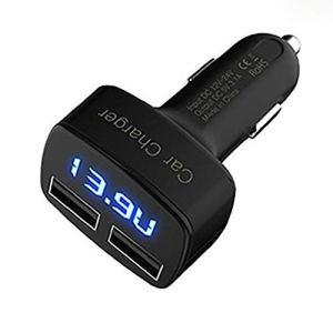 SaraHew74 4-en-1 Double Chargeur de Voiture USB Affichage à LED numérique DC DC 5v 3.1a Adaptateur Universel avec testeur de Tension de la température Actuelle